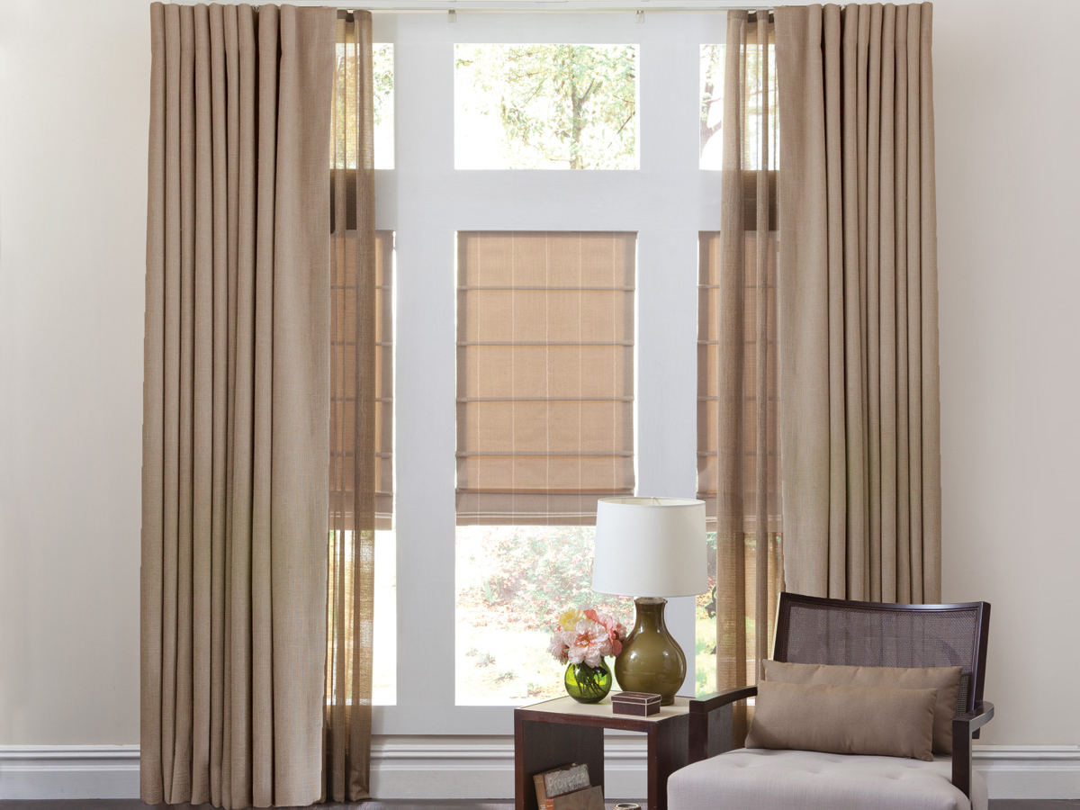 Flat Style Roman Shades with Draperies